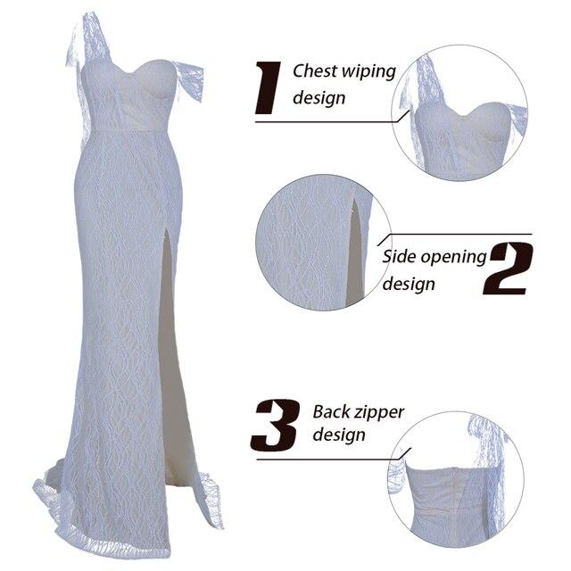 Missord 2019 Women Sexy Irregular Neck Off Shoulder High Split Dresses Female Glitter Elegant Maxi Dress   FT19562 4