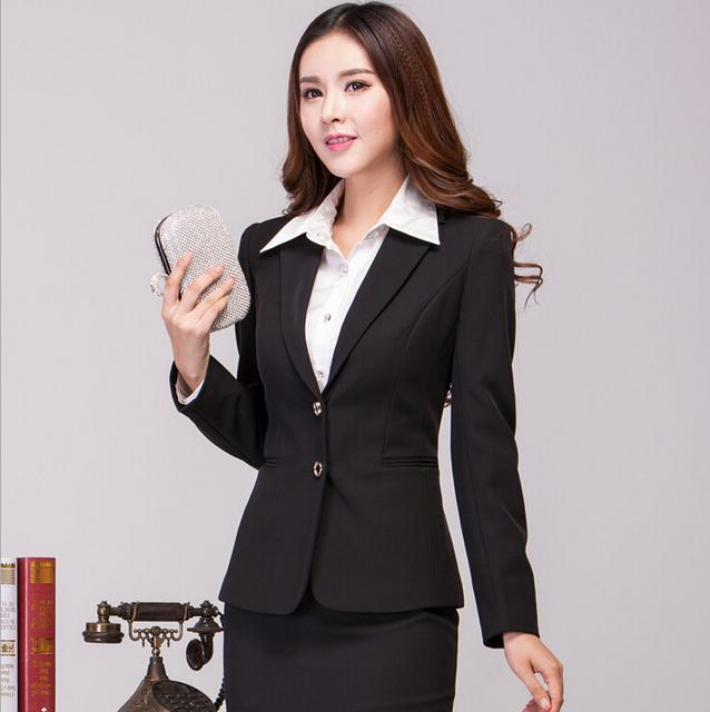 New preto elegante 2015 Femininos trabalho negócios profissional usar ternos Tops e saia para as mulheres uniformes de estética conjunto de roupas