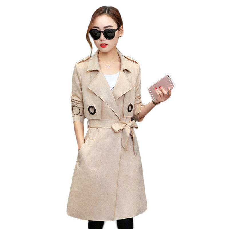 Long   Trench   Coat For Women Spring Autumn Faux Suede Women   Trench   Coat Overcoat Abrigos Mujer Fashion Elegant Ladies Coat C4547