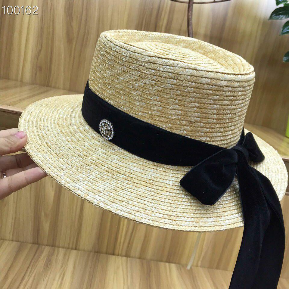01802-axi new desige handmade straw paper Velvet ribbon lady bowknot sun cap omen leisure holiday beach hat