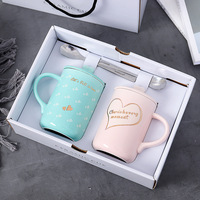 2pcs/set Heart Lovers Cup Outline in Gold Ceramic Coffee Mug High Grade Gift Box Mugs for Wedding Gifts Novelty Tumbler