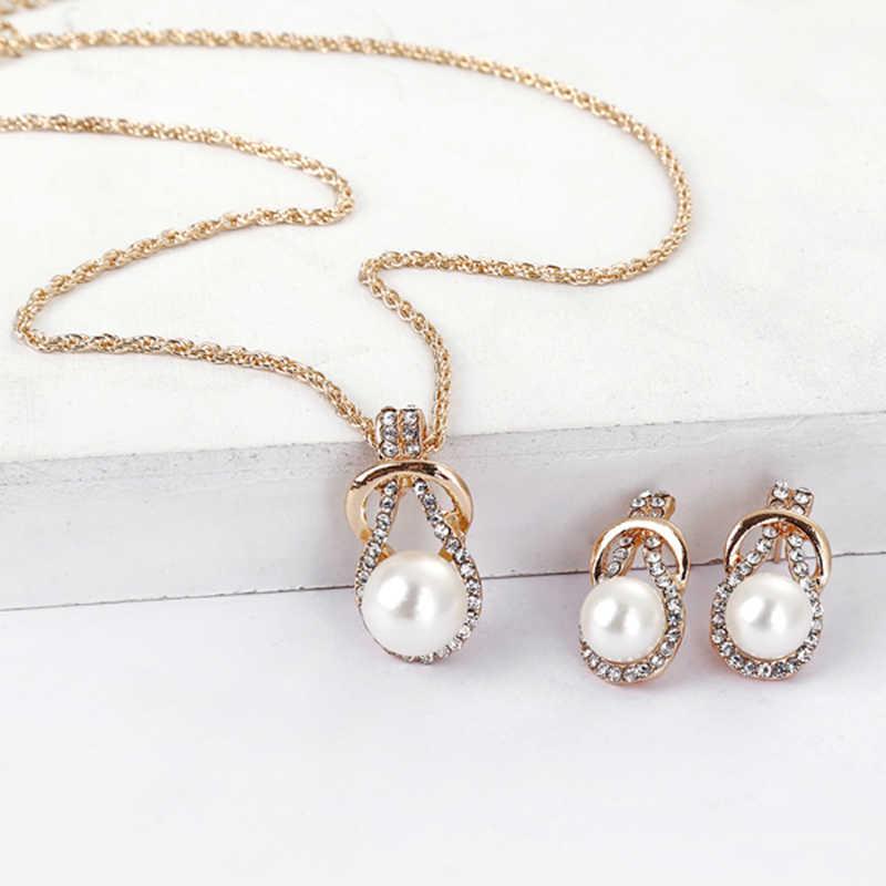 XIYANIKE Mode Design Imitation Perle Schmuck Sets Strass Gold Farbe Halskette Sets für Frauen Braut Hochzeit Schmuck N395