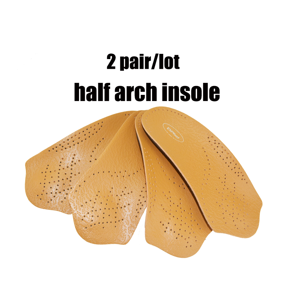 2 pair /lot leather Adult Flat Feet Orthotics Half Shoe Insole Pad Arch Support Orthopedic Insoles for Shoes Woman/Men Foot Care 2017 gel 3d support flat feet for women men orthotic insole foot pain arch pad high support premium orthotic gel arch insoles