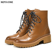 NemaoNe Fashion Styles Winter Genuine Leather Motorcycle Boots Top Quality lace up Shoes Women Ankle Boots Plus Size 42 43