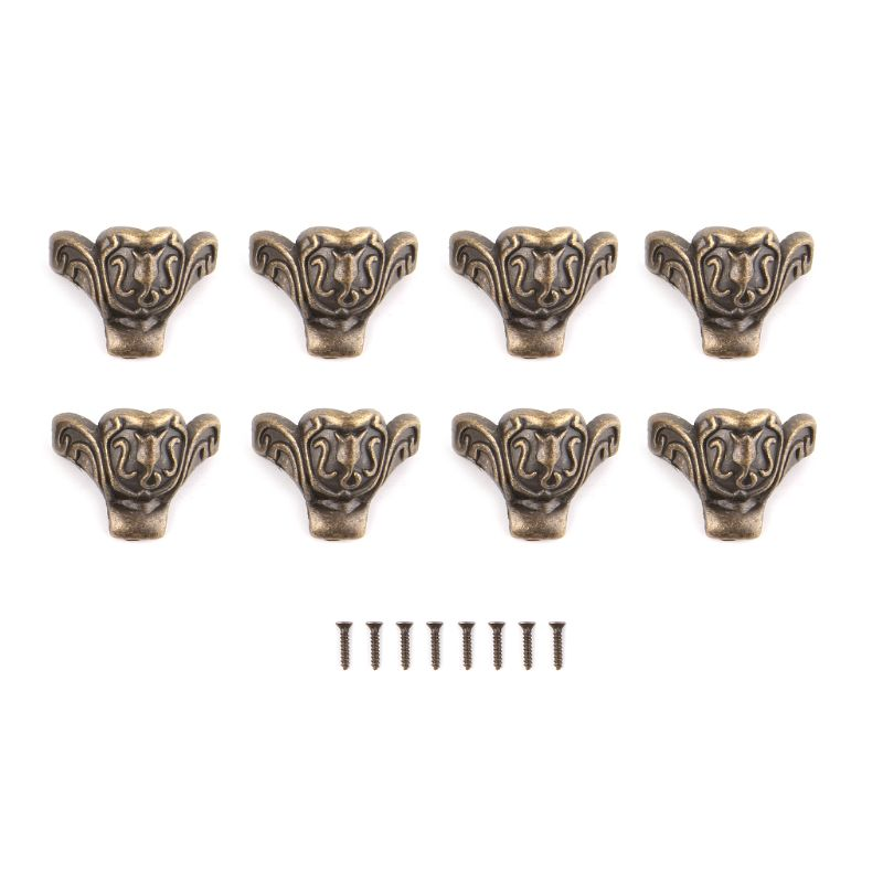 8pcs 38x23mm Bronze Tone Antique Furniture Foot Alloy Box Four Corners Decorative Flower Feet