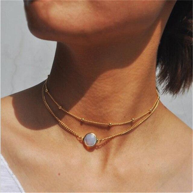 Tenande Новая мода сердце Кристалл ожерелья листьев Moon колье ожерелья подвески для Для женщин пляжные Стиль себе ювелирные изделия Bijoux