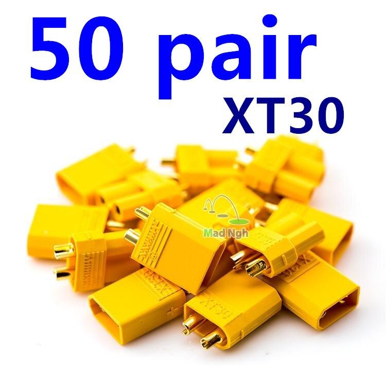 50 paires XT30 jaune batterie connecteur Set 2.0mm mâle femelle plaqué or fiche banane pour RC Lipo batterie FPV quadrirotor moteur