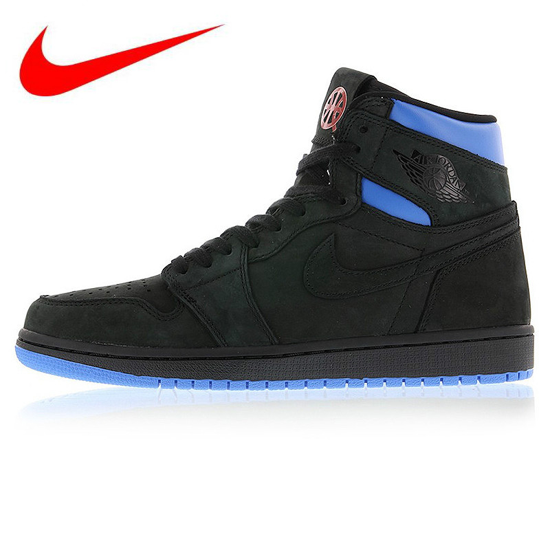 Original Nike Air Jordan 1 Retro Q54 Quai 54 Black Red and Blue Men s  Basketball Shoes 4c45eab9a