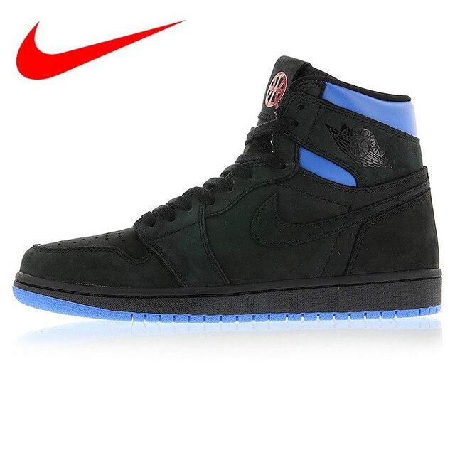 the best attitude ba057 d8157 Original Nike Air Jordan 1 Retro Q54 Quai 54 Black Red and Blue Men s  Basketball Shoes