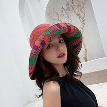 New Korean Double-sided Foldable Personality Large brim Sunscreen Travel Women Hat
