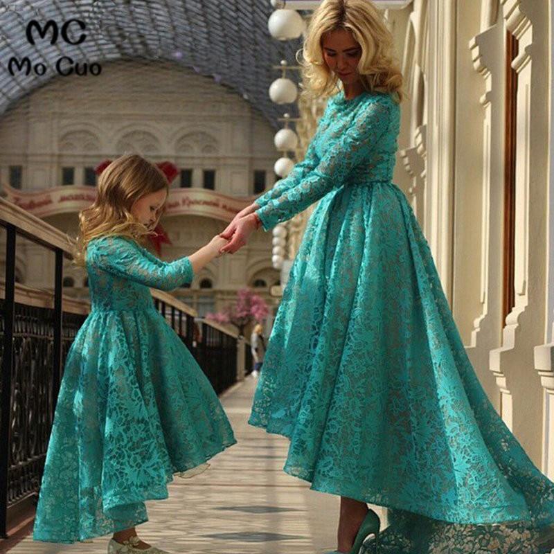 2018 vestido de festa longo Hunter robe de soirée à manches longues dentelle mère et filles correspondant robe mère des robes de mariée