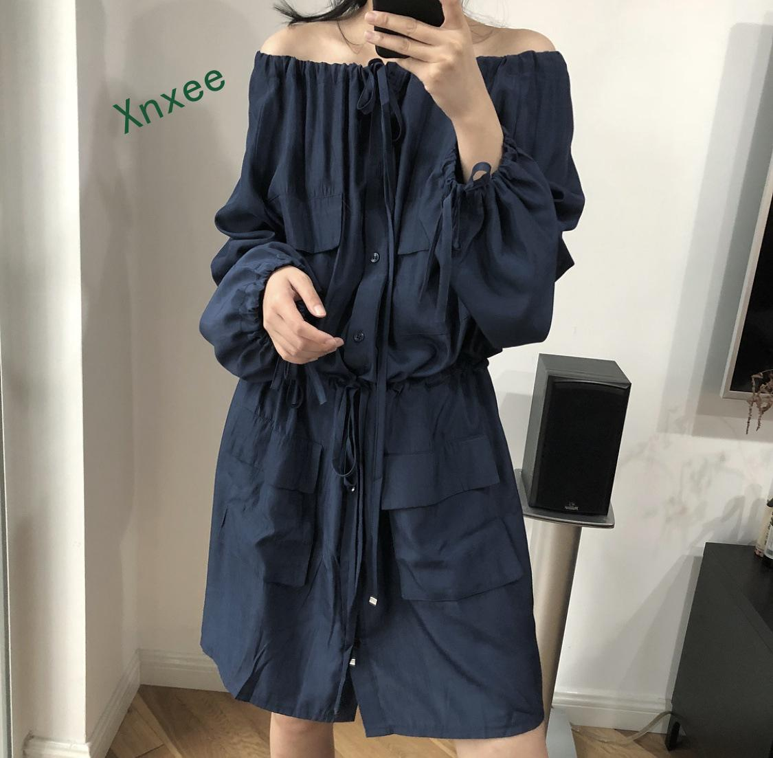 Xnxee Women Thin   Trench   Women   Trench   Coat Long Autumn Coats Female 2019 Solid Chiffon Splice Outwear Loose   Trench   Coat