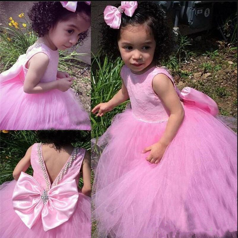 Sweet Little   Girls   Birthday Party Gowns with Big Bow Beading New Long Tulle   Flower     Girl     Dress   For Wedding Custom Made Prom   Dress