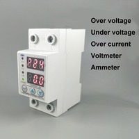 60A 230 V Din rail verstelbare over en onder voltage beschermende apparaat protector relais met over huidige bescherming Voltmeter