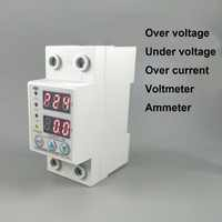 60A 230V Din rail adjustable over and under voltage protective device protector relay with over current protection Voltmeter