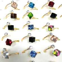 10pcs Fashion Women Girl Jewelry Wholesale Lots Bulk Mixed Square CZ Crystal Gold Color Plated Open Mouth Rings
