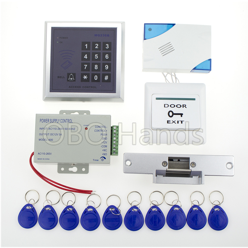 Free Shipping 13.56MHz Full RFID Access Control System Access Control Keypad+Power+Electronic Strike Lock+Door Button+Bell+Keys wireless service call bell system popular in restaurant ce passed 433 92mhz full equipment watch pager 1 watch 7 call button