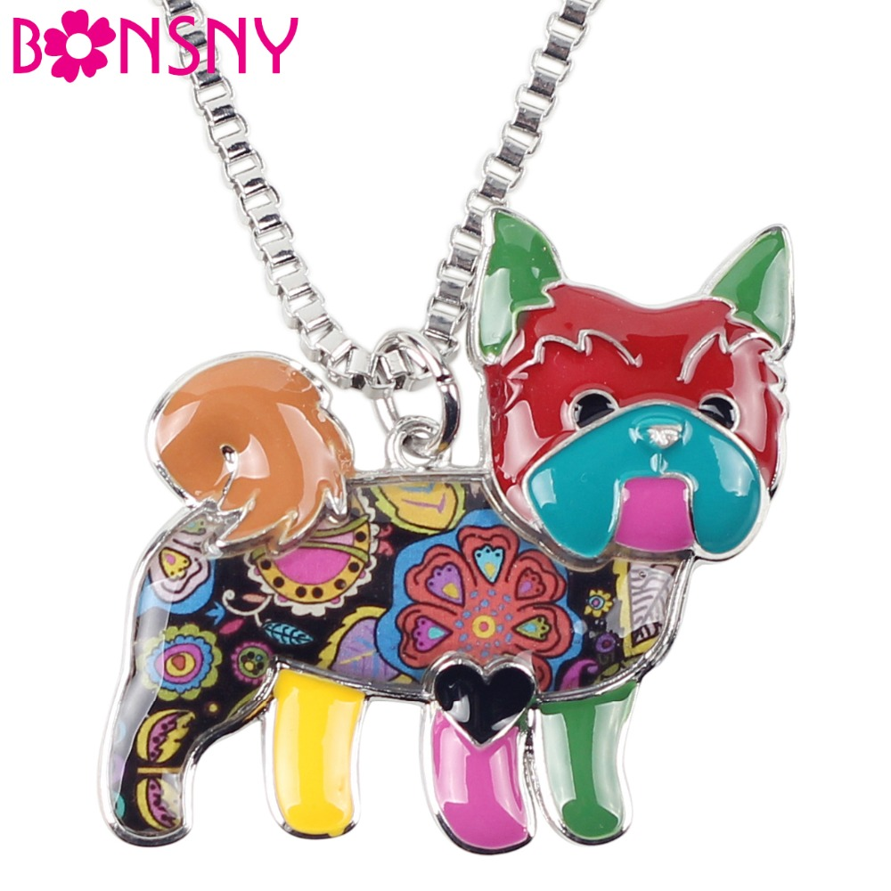 Bonsny Maxi Statement Alloy Yorkie Yorkshire Dog Choker Necklace Chain Collar Shiz Tzu Pendant Fashion Enamel Jewelry Women