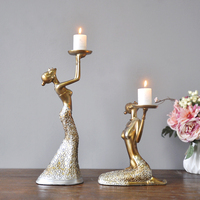 2pcs Retro Beauty Candle Candlestick Resin Craft Western style Food Soft Outfit Home Furnishing Wedding Ornaments