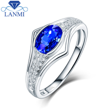 Charming Oval  Natural Sapphire Women's Wedding Rings In 14Kt White Gold Fine Jewelry Special Design for Anniversary Gift