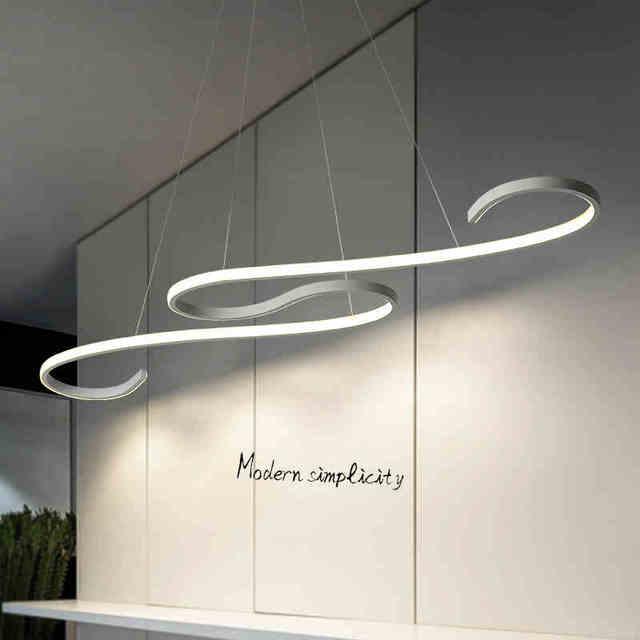 US $88.32 31% di SCONTO|Nuovo design minimalista arte Moderna LED  Lampadario Per Sala Da Pranzo Cucina Camera Bar AC85 265V Alluminio  Lampadario ...