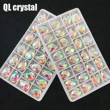 QL Crystal 2018 popular pure AB Drops Sew On Stones and Sewing Rhinestone 2 Holes DIY Garment Dress Making