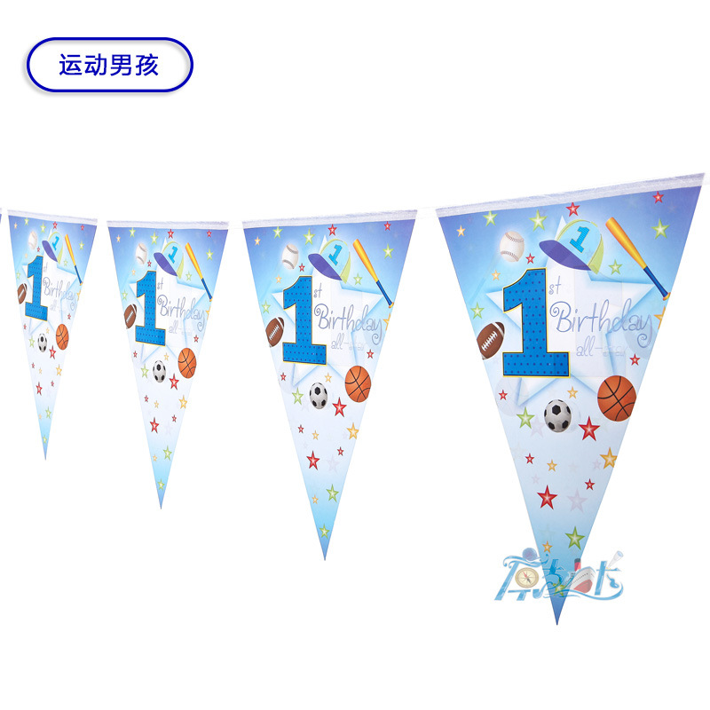 2packs Paper flags Banners 1st birthday Flags Baby Shower chilren