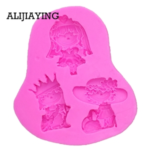 Image 4 - M0119 Girl princess bride cake decorating tools Liquid 3D Silicone Mold DIY baking accessories