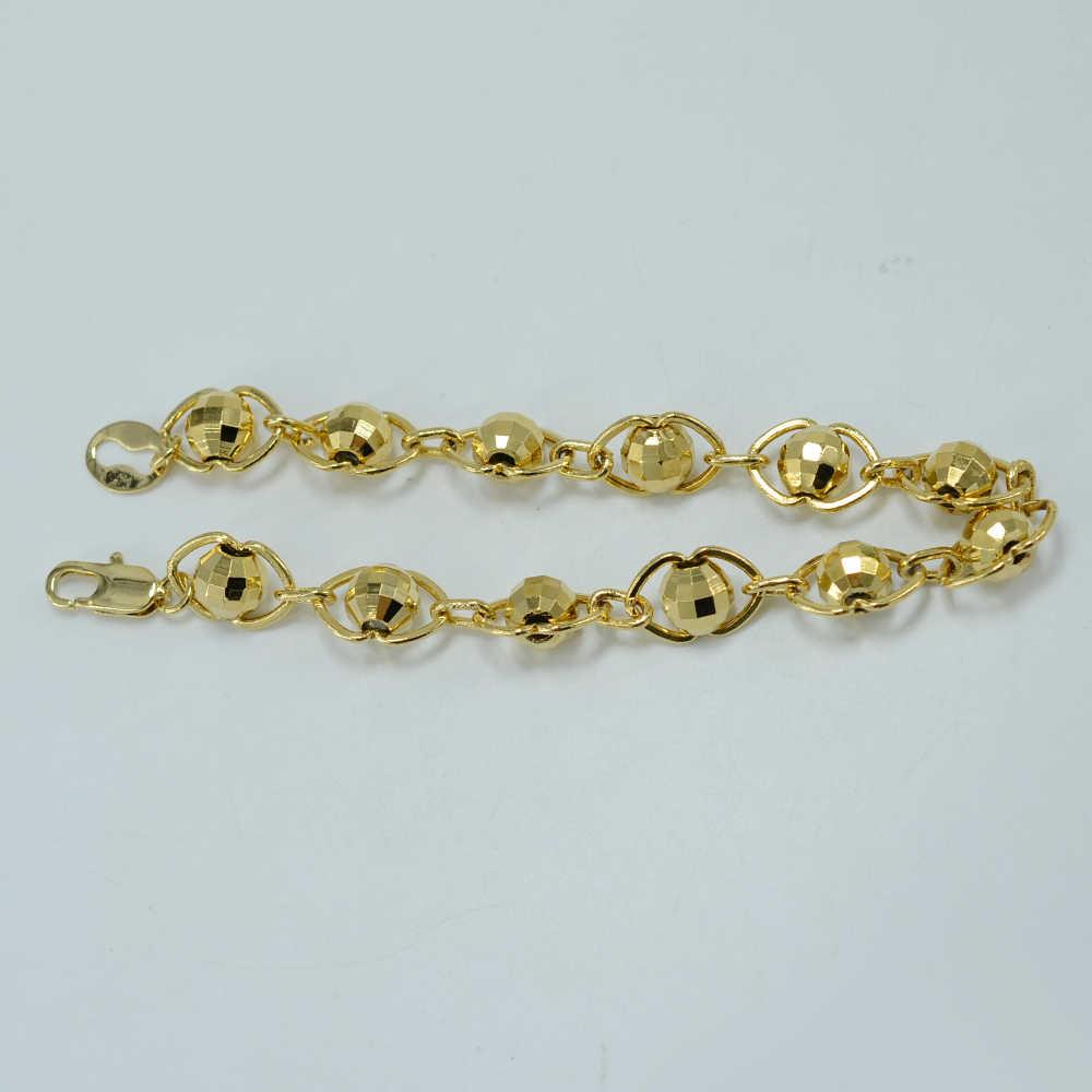Anniyo 22CM mężczyźni bransoletka złoty kolor koralik bransoletka dla kobiet moda biżuteria łańcuch piłka #029020