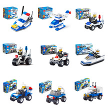 10 style JIE-STAR Police Theme Building Blocks Vehicle Set 22-200pcs Car Brick Model Toys for Kids