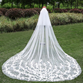 3 Meters Wedding Bridal Veils Long With Comb Ivory White Elegant Two Layer Veil Wedding Accessories New Fashionable Appliques