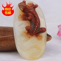Pure manual sculpture of yunnan longling Huang Longyu lizards pendant tie in style pendant necklace charm men