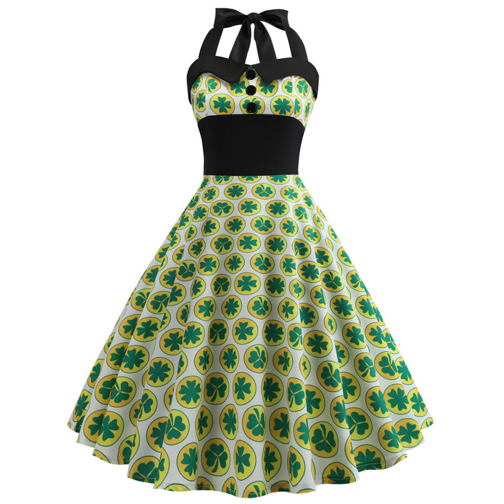 St. Patrick's Day Women's Vintage Dress Ladies Sleeveless