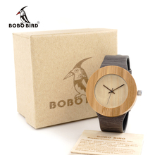 BOBO BIRD H10 Unisex Bamboo Wooden Watches Wood Dial Quartz Watch Genuine Leather Grain Gray Straps