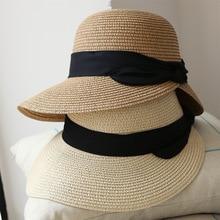 Hot Women Sun Hat Handmade Straw Hat Summer Beach Sea Sun Shade Big Brim Casual Ladies Girl Ribbon Bow Hats Foldable Bucket Cap