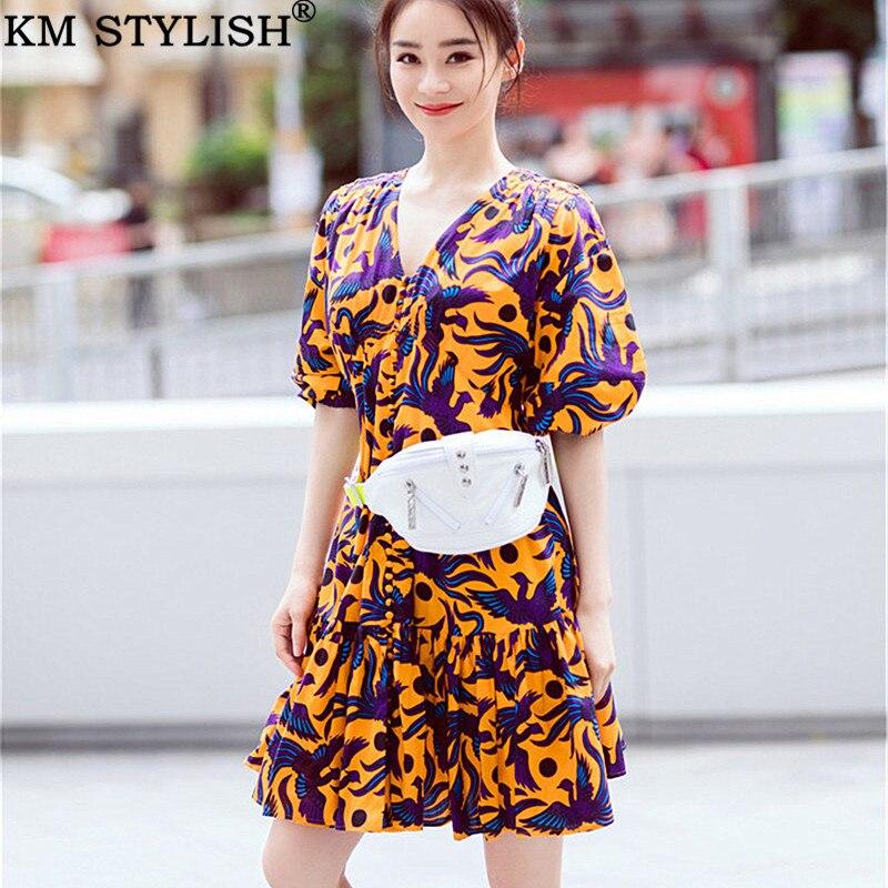 Été femmes nouveau Orange Phoenix motif col en v simple boutonnage à manches courtes plissée une-pièce robe