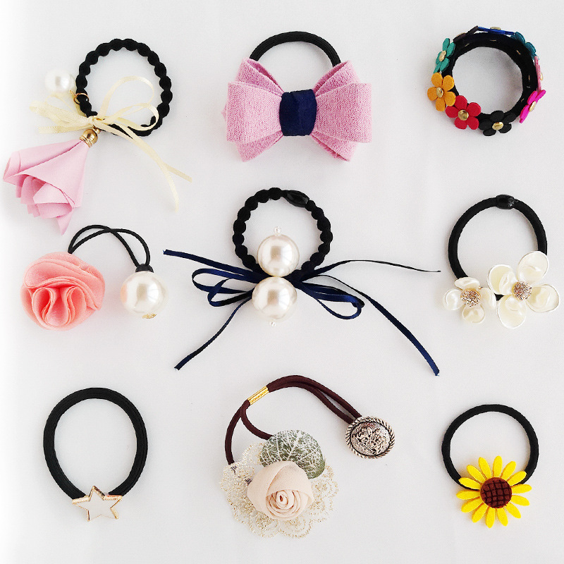 9pc/set Top Fashion Women Elastic Hair Rubber Bands Flower Headwear Ring Rope for Girl Scrunchie Hair Ornaments Hair Accessories 2017 new arrival fashion flower hair ropes for women luxury brand pearl tassel ladies elastic hair band hair accessories ns050