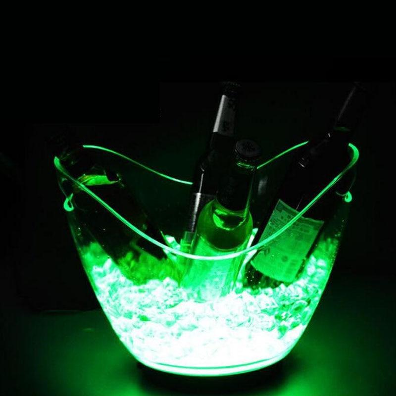 5 pièces/lot couleur unique rechargeable lumineux 4L LED seau à glace champagne bière seau à glace pour barres décoration livraison gratuite