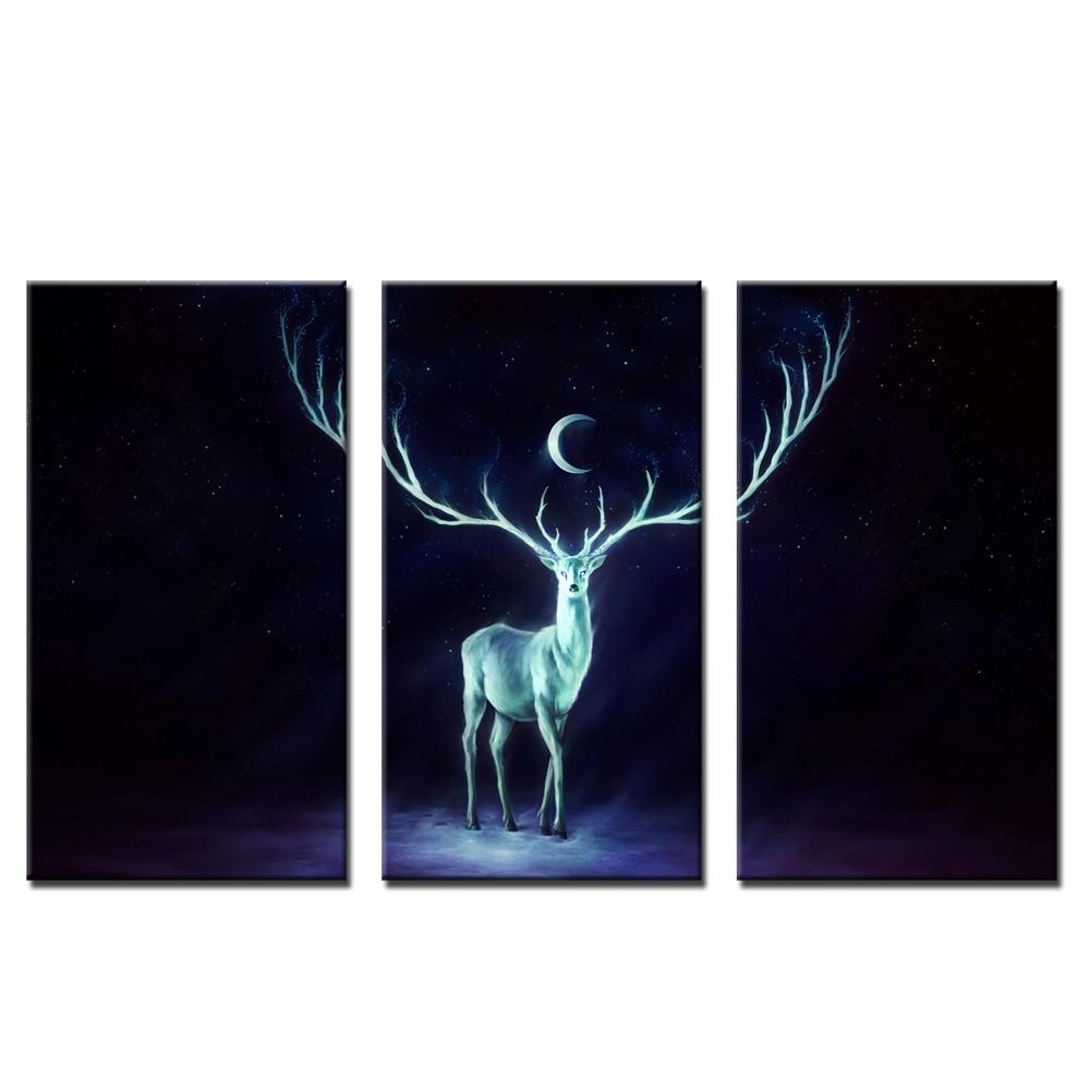 3 kusy nový design nástěnné dekorace malba na plátně jelen pod měsícem nástěnná malba pro dekoraci obývacího pokoje