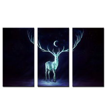 3 Pieces New Design Wall Decoration Canvas Painting Prints Deer Under The Moon Wall Art Decor Painting For Living Room Bedroom