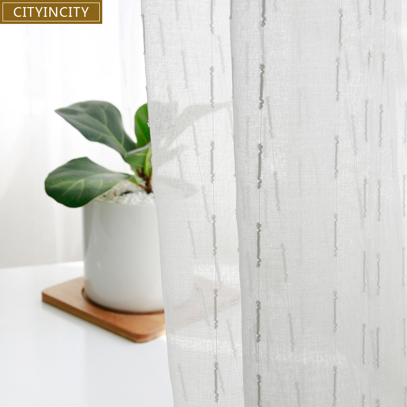 CITYINCITY Fresh Strip White Sheer Transparent Voile For Kitchen And Living room Window Curtains Customized