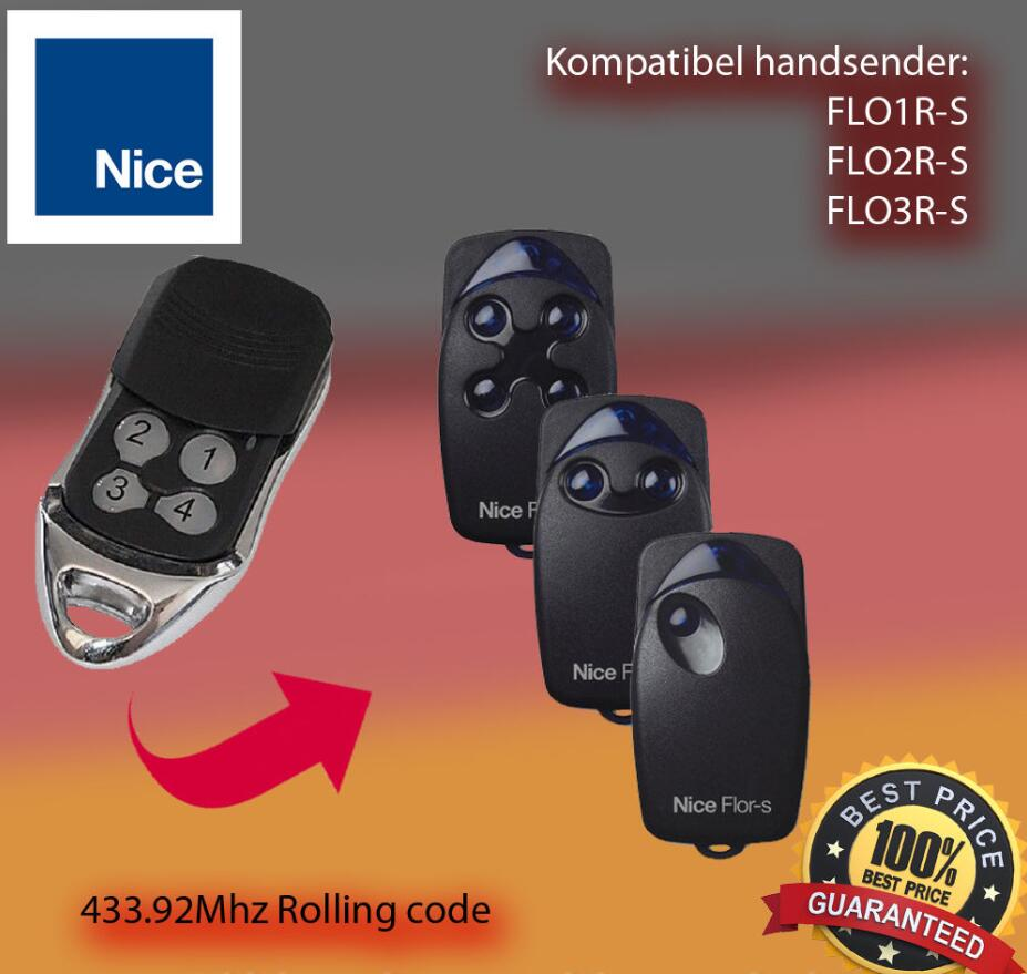 high quality duplicator 433.92mhz Nice Flor-s rolling code garage door replacement universal remote control 50pcs for nice flo2r s garage door remote control free shipping