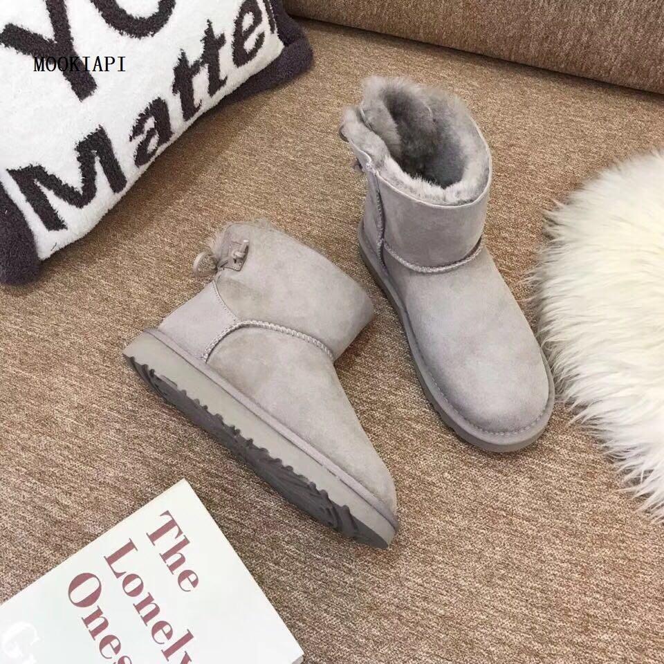 In 2019, Europa der neueste hochwertige schnee stiefel, echt schaffell, 100% wolle, frauen schnee schuhe, kostenlose lieferung-in Wadenhohe Stiefel aus Schuhe bei  Gruppe 2