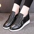 Женщины Повседневная Обувь Из Натуральной Кожи На Молнии Стиль Высота Увеличение Дезодорант И Анти-скольжения Удобно Носить