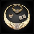 New Elegant Italian Gold Plated Jewelry Sets Crystal Unique Drop Necklace Earrings Nigerian Wedding African Beads Jewelry Sets