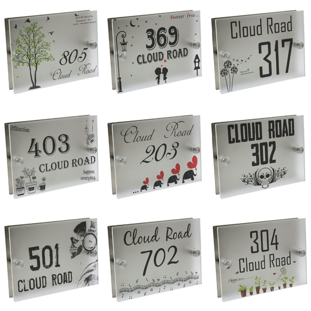 House Sign Door Number Street Plaque Frosted Glass Acrylic