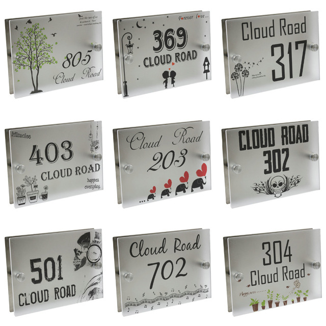 Personalized Modern House Number Door Sign Plaque Street Acrylic