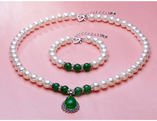 Eternal wedding Women Gift word necklace real 925 silver real natural big Cano Cindy mood pearl 9 10 MM NECKLACE bra silver in Bridal Jewelry Sets from Jewelry Accessories