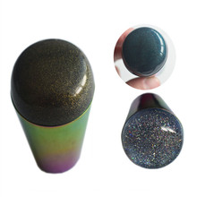 Rainbow Silicone Nail Stamper with Scraper Black Green Gold Colorful Handle Starry Sky Style Manicure Tools