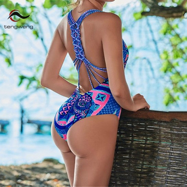 a7a2549c2b 2018 Halter One Piece Swimsuits Elephant Print Women Backless Monokini  Bathing Suit Plus Size Swimwear Hand Made Bandage Bikinis